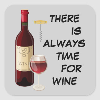 Animated wine bottle and glass square sticker
