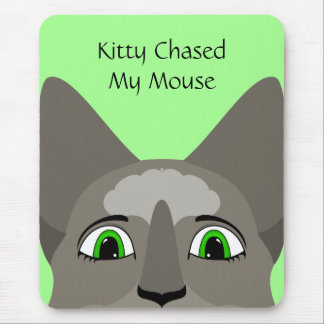 Anime Cat Face With Green Eyes Mousepad