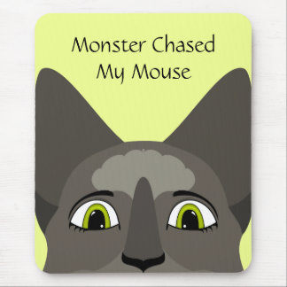 Anime Cat Face With Yellow Eyes Mouse Pads