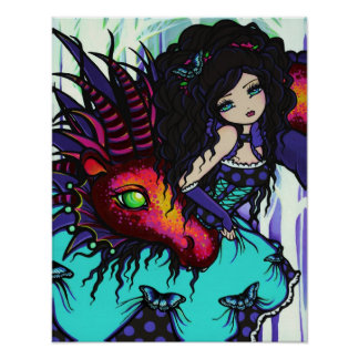 Annabelle & Jax Fairy Princess Dragon Fantasy Art Poster