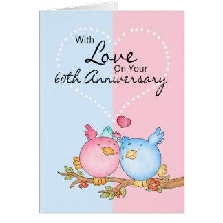 anniversary card - 60th anniversary love birds
