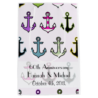 Anniversary - Colorful Anchors (Boat Anchors) Medium Gift Bag