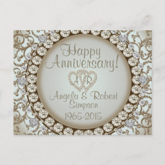 Anniversary Invitation | Gold Heart Monogram