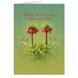 Anniversary, Mom and Dad, Red Rubra Tulips Card