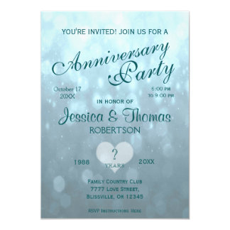 Anniversary Party | Teal Bokeh Card