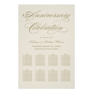 Anniversary Seating Chart | Gold Calligraphy Poster
