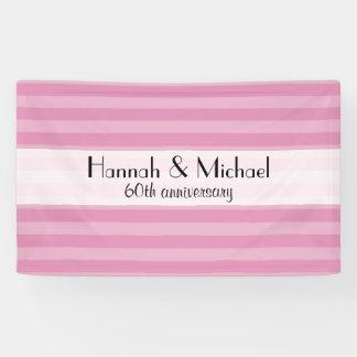 Anniversary - Stripes, Striped Pattern - Pink Banner