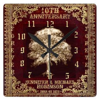 Anniversary Tree of Life Vintage Square Wall Clock