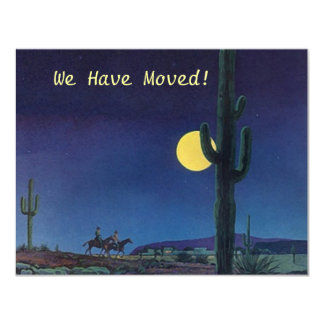 Announce We have moved Saguaro Cactus In Moonlight Card