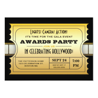 Annual Movie Awards Party Golden Ticket 13 Cm X 18 Cm Invitation Card
