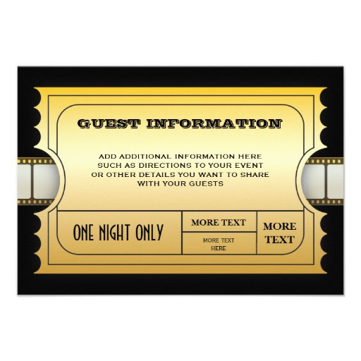 Annual Movie Awards Party Golden Ticket Insert Personalized Announcement