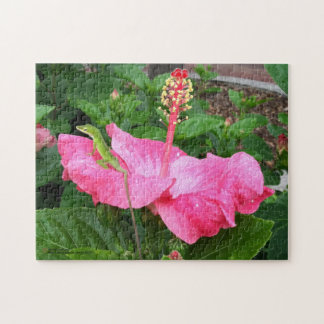 Anole Lizard On Pink Hibiscus Photograph Jigsaw Puzzle