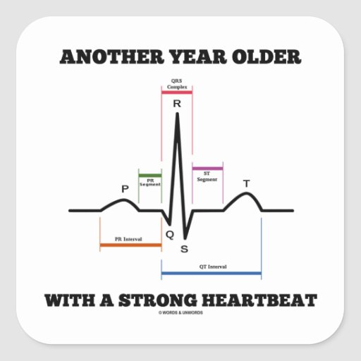 Another Year Older With A Strong Heartbeat ECG/EKG Sticker