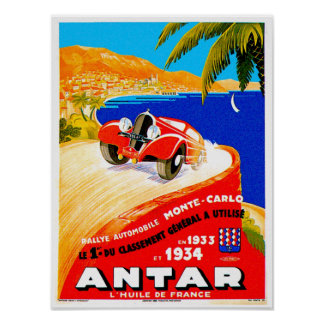 Antar Gas Vintage Auto Road Race Ad Posters