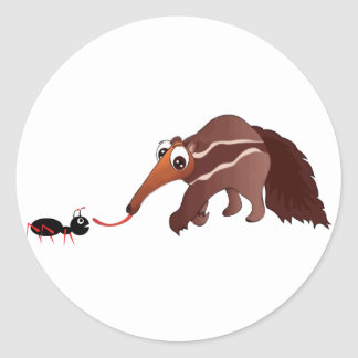 Anteater Meets His Lunch Classic Round Sticker