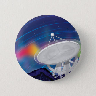 Antenna Observing the Sky with a Aurora 6 Cm Round Badge