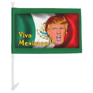 "Anti-Donald Trump ""VIVA MEXICO"" car flag. Car Flag"
