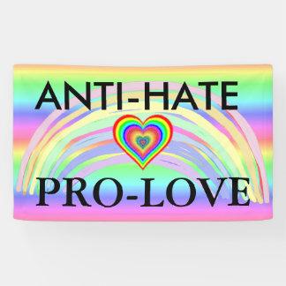Anti-Hate Pro-Love Protest LGBT Rainbow Banner