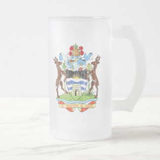 Antigua And Barbuda Coat Of Arms Frosted Glass Beer Mug