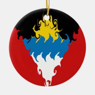 Antigua and Barbuda Gnarly Flag Round Ceramic Decoration