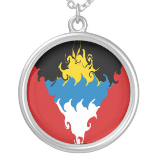 Antigua and Barbuda Gnarly Flag Round Pendant Necklace