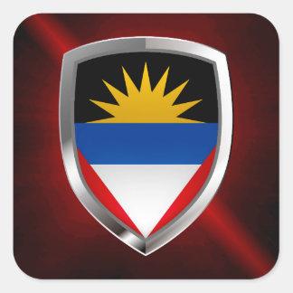 Antigua and Barbuda Mettalic Emblem Square Sticker