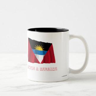 Antigua and Barbuda Waving Flag with Name Two-Tone Coffee Mug