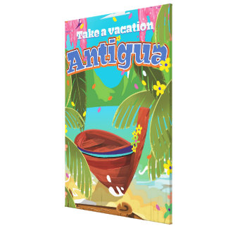 Antigua island vintage travel poster art. canvas print