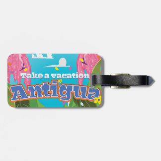 Antigua island vintage travel poster art. luggage tag