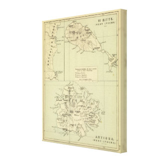 Antigua Lithographed Map Canvas Print