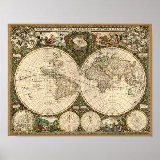 Antique 1660 World Map by Frederick de Wit Print