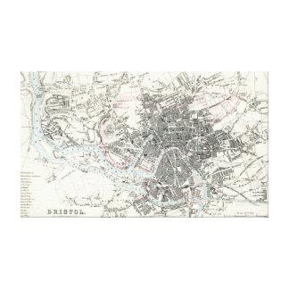 Antique 19th Century Map of Bristol Canvas Print
