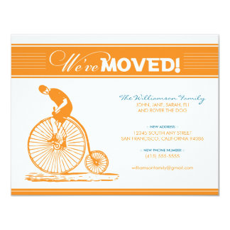 Antique Bicycle Moving Announcement (orange)