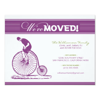 Antique Bicycle Moving Announcement (purple)