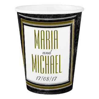 Antique Black Marble Wedding Stationery Paper Cup