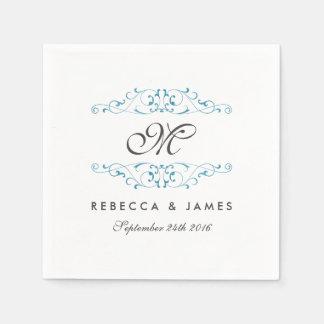 Antique Blue Flourish Monogram Wedding Napkin Disposable Serviette