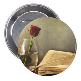 Antique Book and Rose Pinback Button