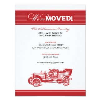 Antique Car Family Moving Announcement (red)