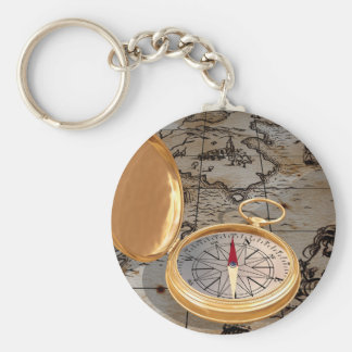 Antique Compass On A Map Keychain
