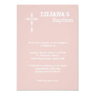 Antique Cross Blush Religious Invitation
