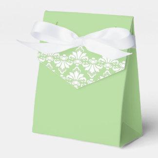 Antique Damask Wedding Favor Box Spring Green Favour Box