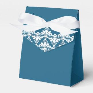 Antique Damask Wedding Favor Box Teal White Wedding Favour Boxes