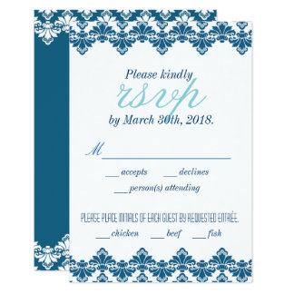 Antique Damask Wedding RSVP Card w Menu Teal