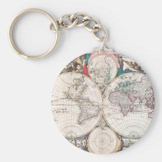 Antique Double-Hemisphere World Map Key Ring