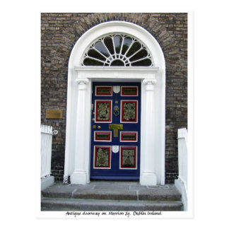 Antique Dublin Doorway, Merrion Square Postcard