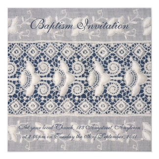 Antique embroidery baptism invitation (boy)