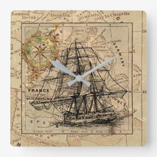 Antique Europe Map Ship Sail Nautical Marine Square Wall Clock