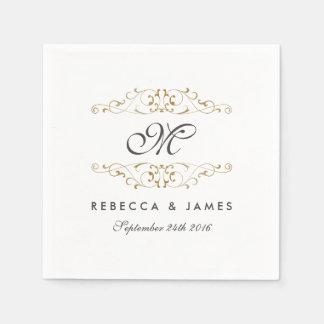 Antique Gold Flourish Monogram Wedding Napkin Paper Serviettes