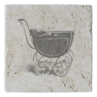 Antique Grey Baby Carriage Vintage Inspired Buggy Trivets