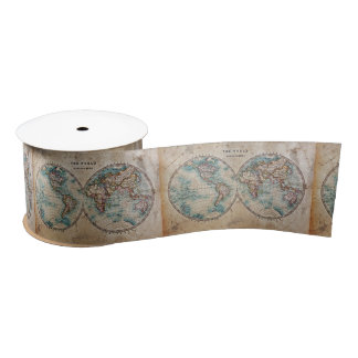 antique,grunge,vintage,world,map,hand colored 1700 satin ribbon